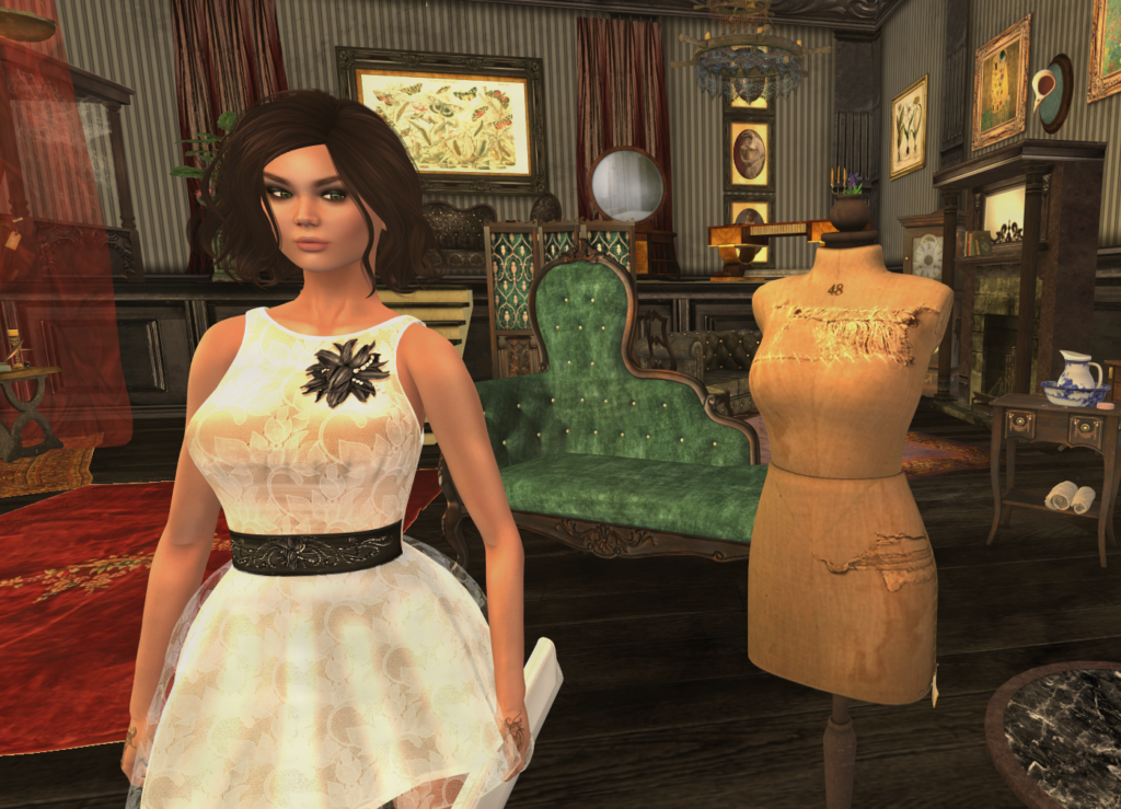 A Second Life avatar does some in world shopping.
