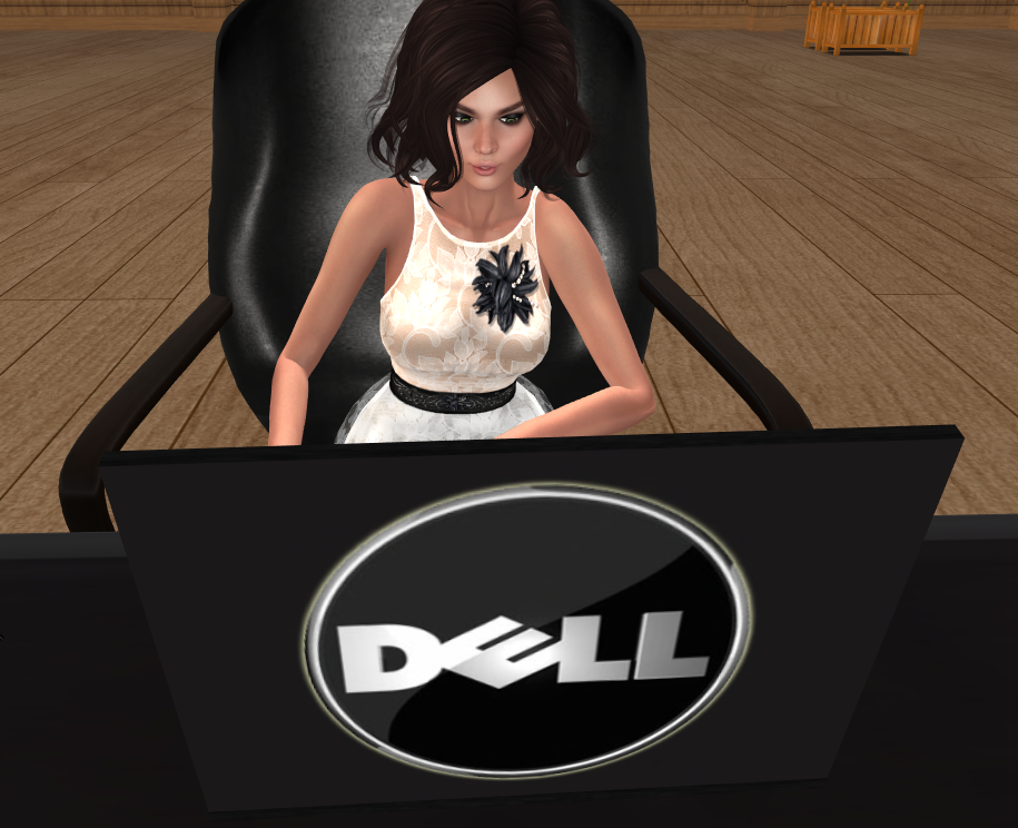 A girl is shopping Second Life's Marketplace on her laptop
