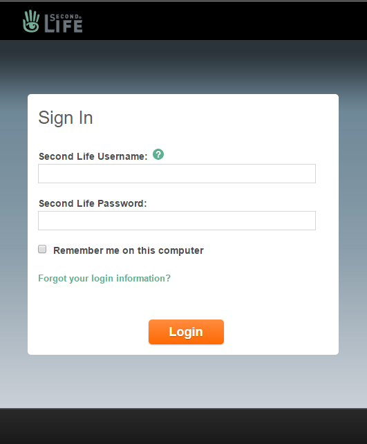 A screenshot of the Second Life log in page