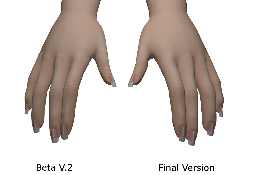 Vista Bento Hands Second Life. Beta version 2 versus final beta version.