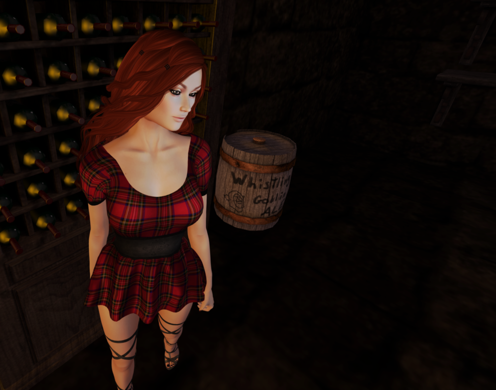 A female Second Life avatar with red hair shows off her flannel print dress gotten from a gacha.