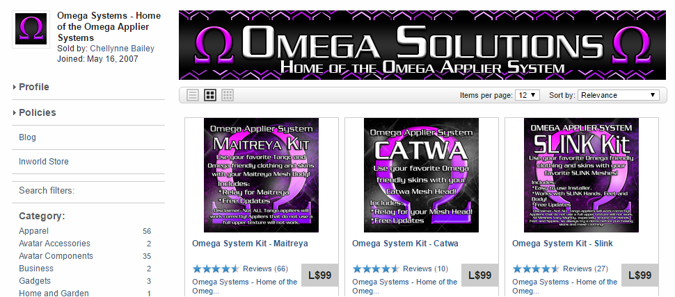 A screenshot of Omega Solutions on the Second Life Marketplace.