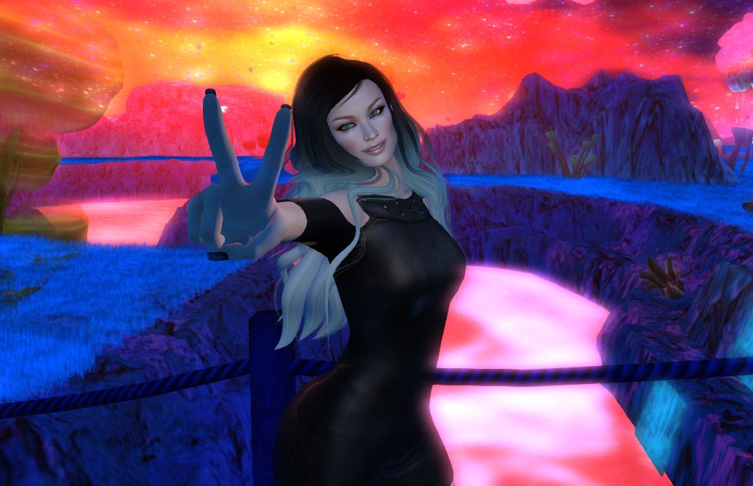 A female Second Life avatar gives the peace sign while wearing a black dresss and Vista bento hands.