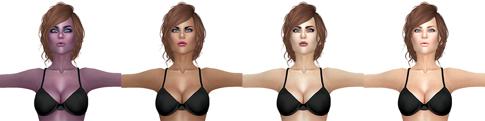 A Second Life avatar is shown four times, each with a new skin. Each looks different.