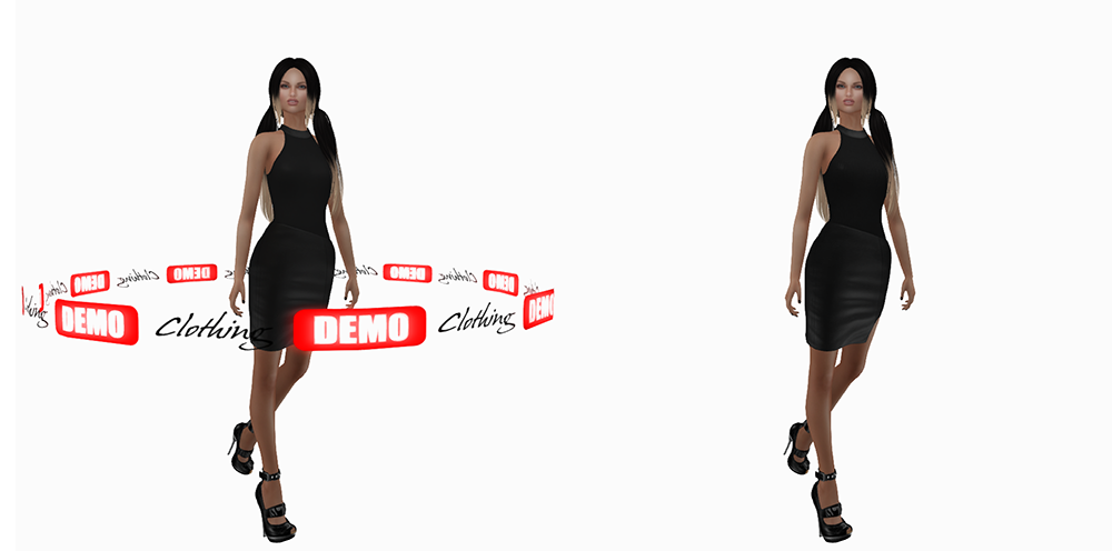 A female Second Life avatar wearing a demo and a real dress.