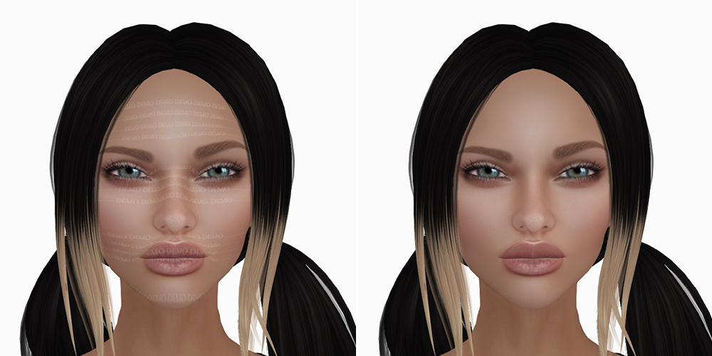 A female Second Life avatar wearing a demo and a real skin.