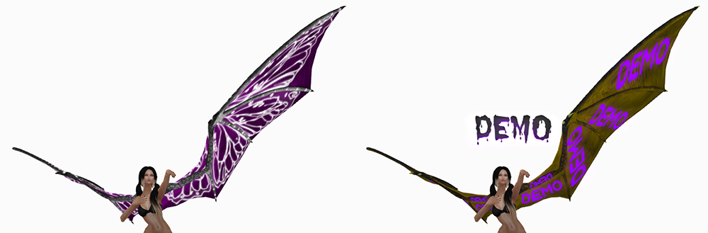 A female Second Life avatar wearing demo and real wings.