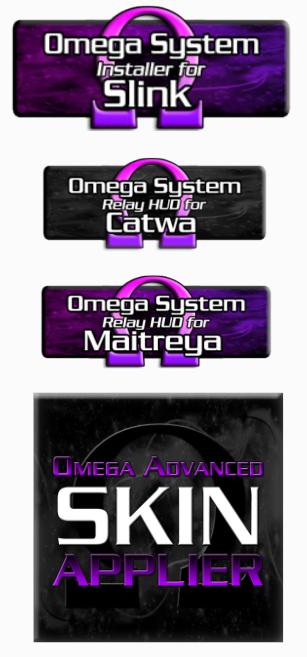 Various Omega system kit HUDs in Second Life.