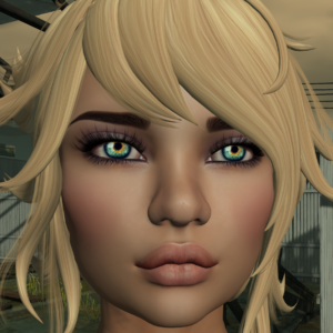 A female Second Life avatar with green eyes and blonde hair looks at the camera.