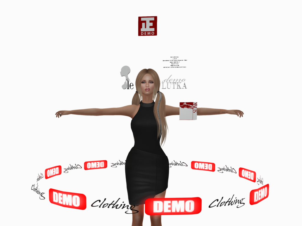 A female Second Life avatar wearing a lot of Demos.