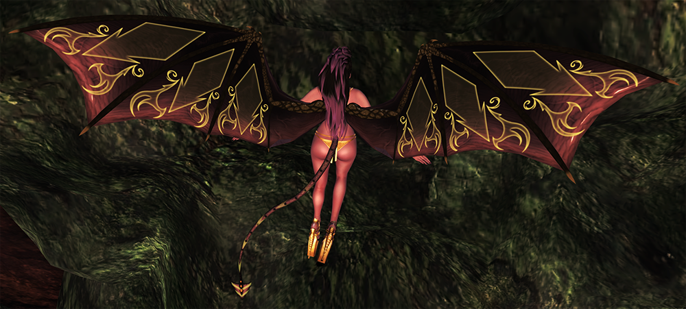 A second life demoness shows off her wings and tail by evolved creations