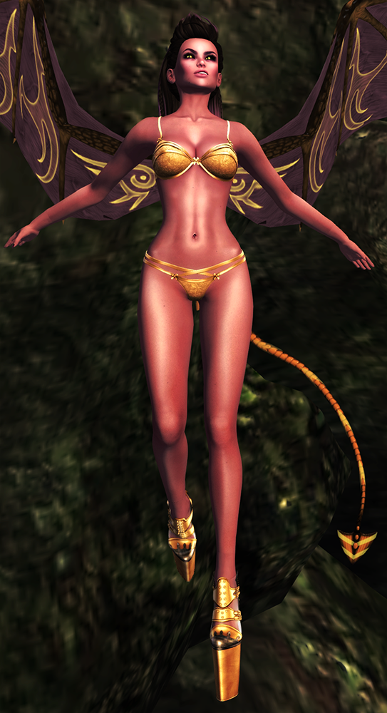 A second life demoness shows off her 7 Deadly Skins skin