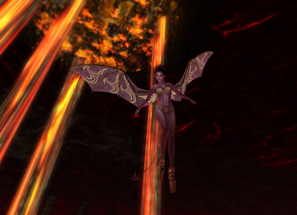 A second life demoness looks over lava with her evolved creatures wings and tail.