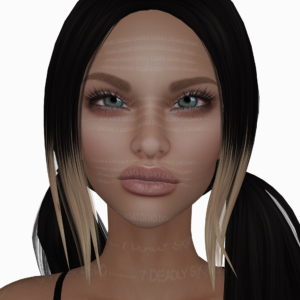 A female Second Life avatar wearing a demo skin from 7 Deadly sKins.
