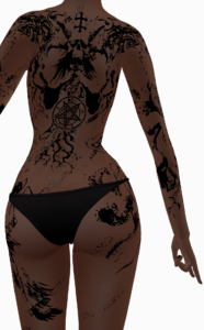 A female Second Life avatar  wearing a demo tattoo from Karved Tattoos.