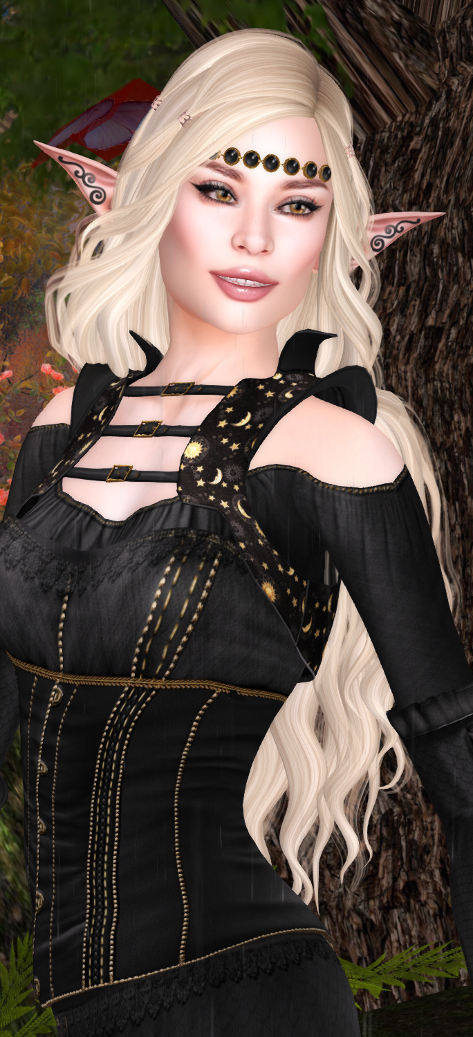 An elven maiden shows off her looks from TRUTH, Swallow, and Arwen's Creations.