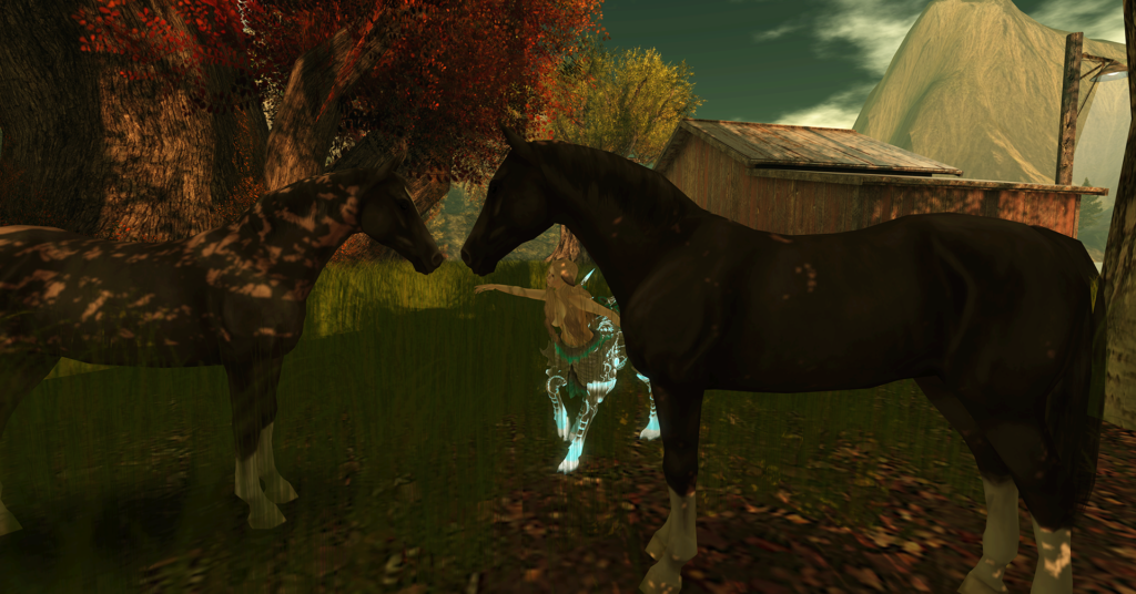 A female Second Life dryad avatar with green and brown accents plays with horses.