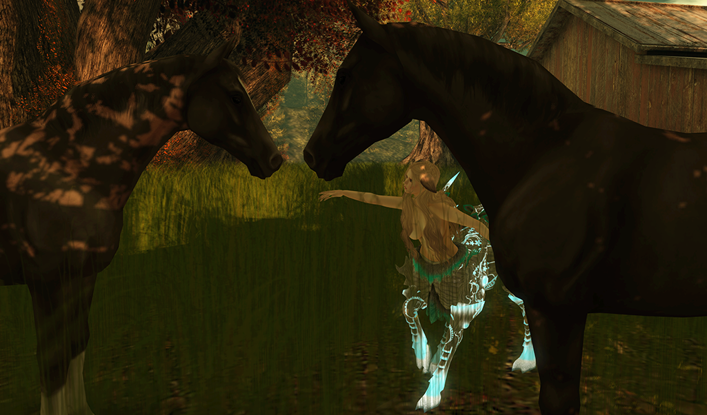 A female Second Life dryad avatar plays with horses.