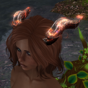 A female Second Life dryad avatar with red horns.