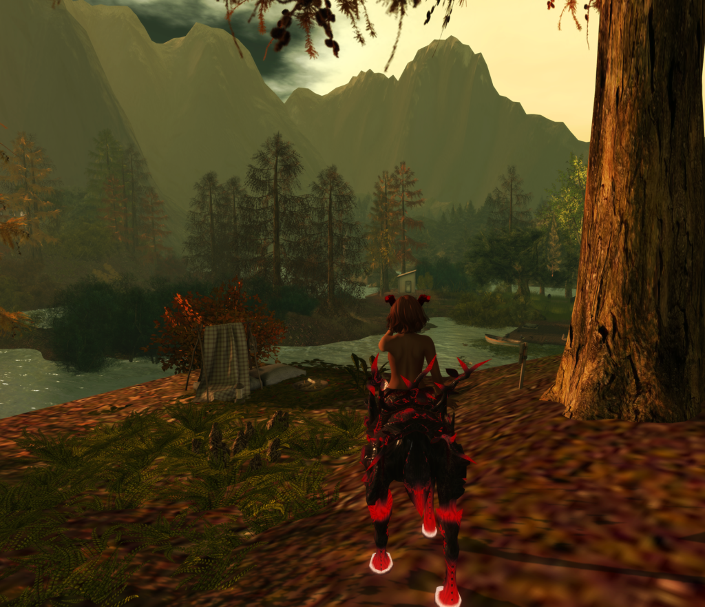 A female Second Life dryad avatar with red horns and hooves.
