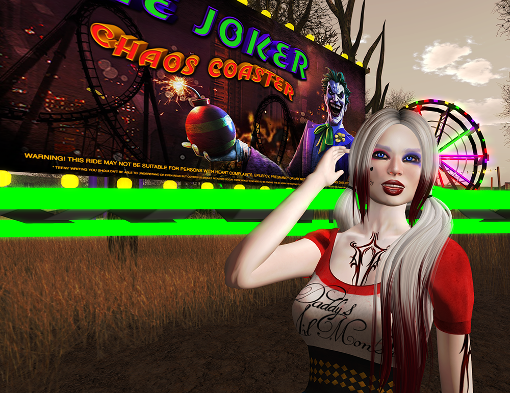 A female second life avatar dressed as Harley Quinn.