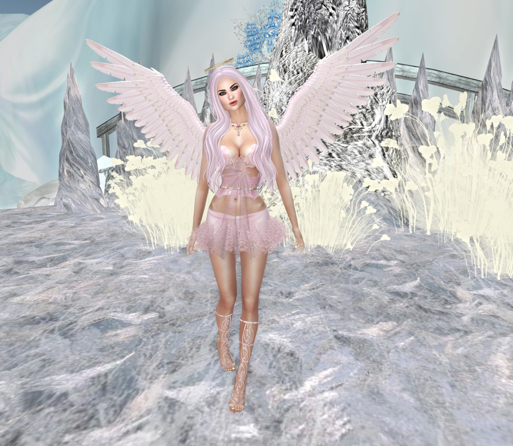 A second life angel dressed in pink stands in the snow.