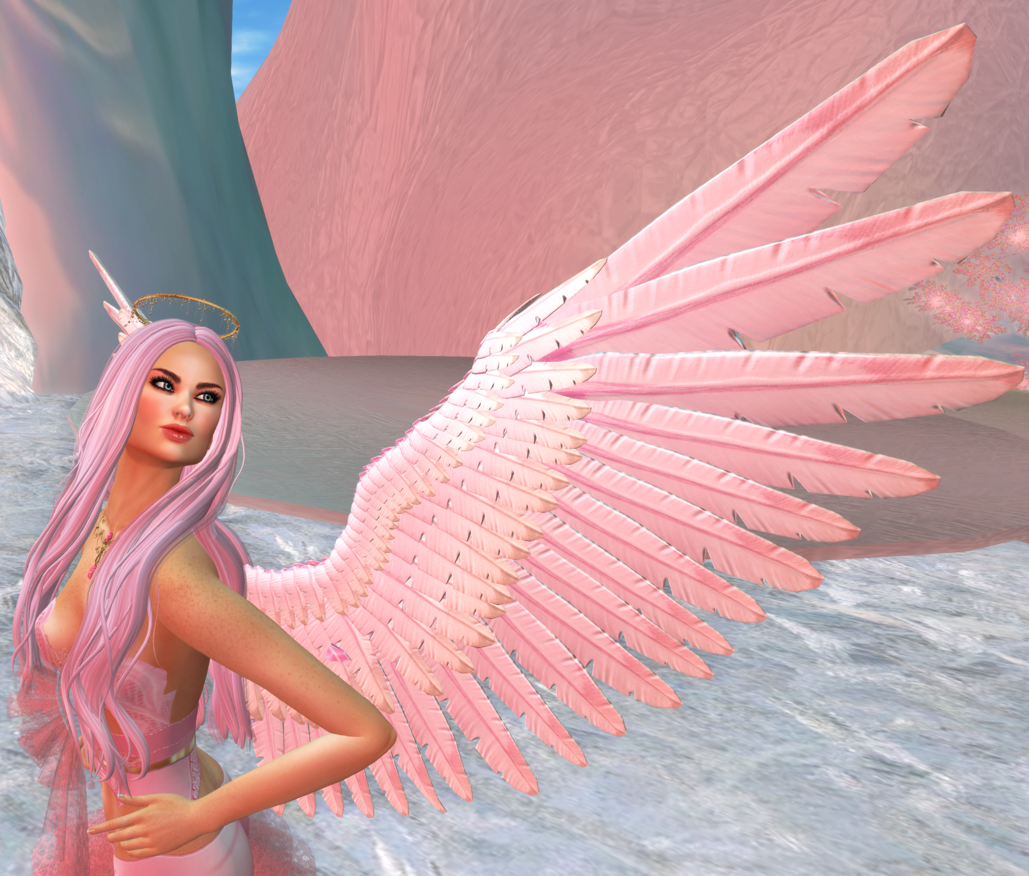A Second Life angel avatar shows off her pink wings.