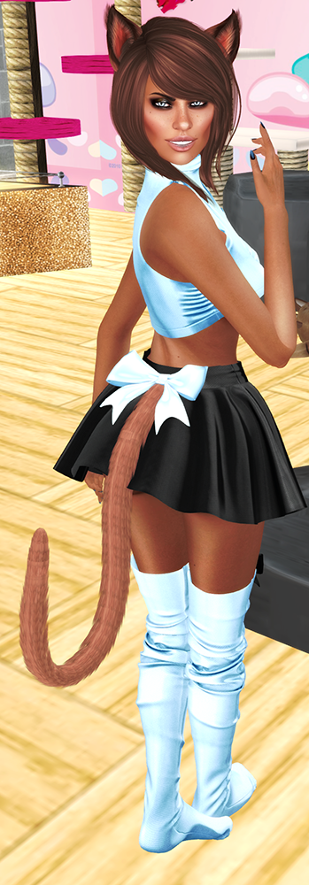 A female Second Life neko avatar with a crop top and skirt.