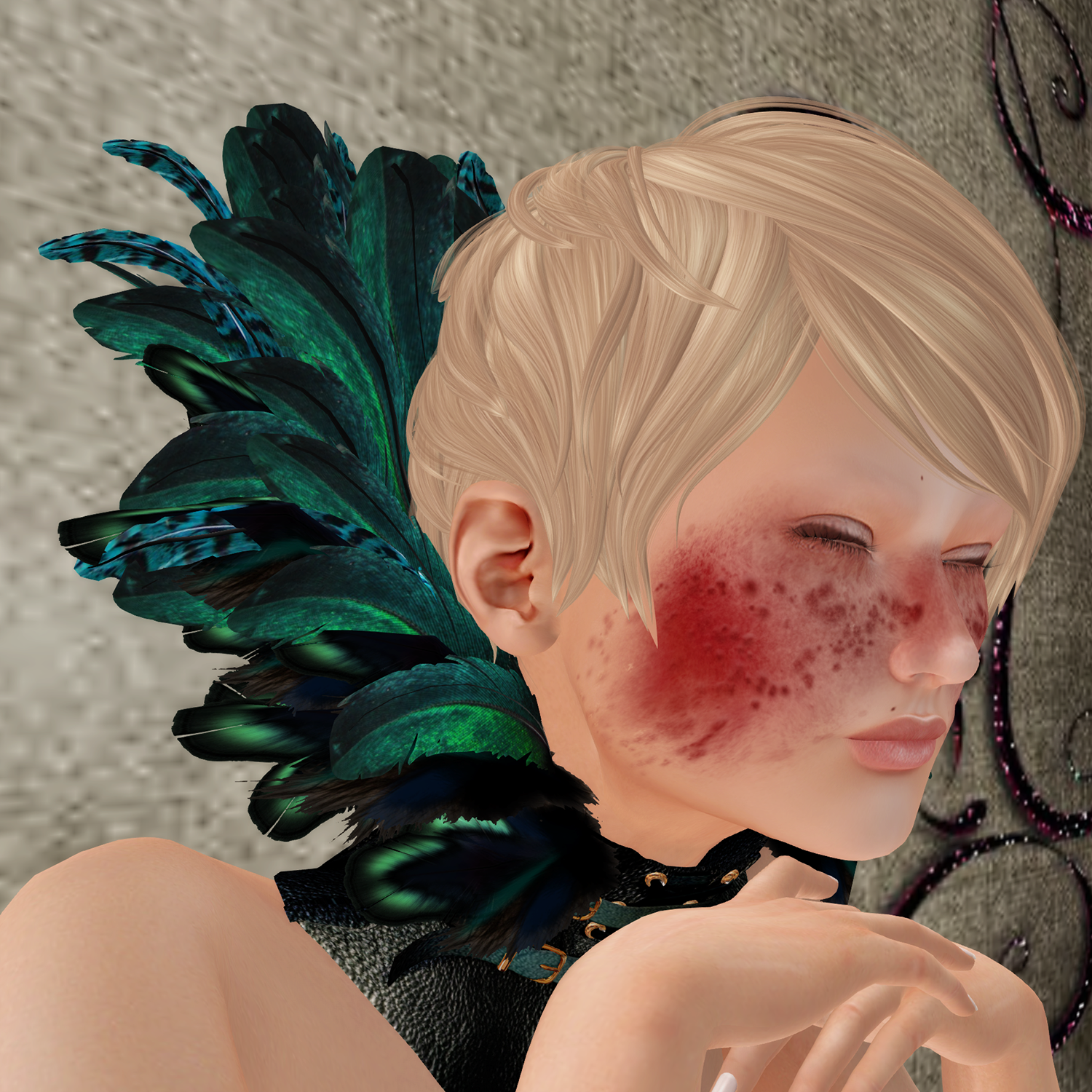 A female Second Life avatar looks sick as she has the Scarlet Pox from Songbird.