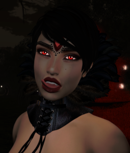 A Second Life Vampire Queen shows off her Catwa, Swallow, and Silvery K products