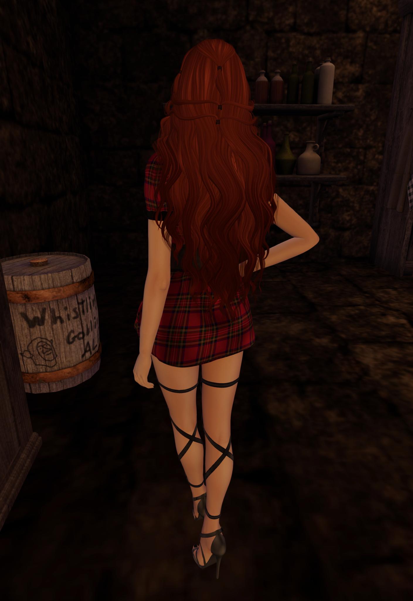 Second Life Gacha Items on display on a female avatar