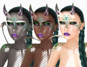 Three Second Life avatars with horns, scales, tails, and bright makeup wearing braids.