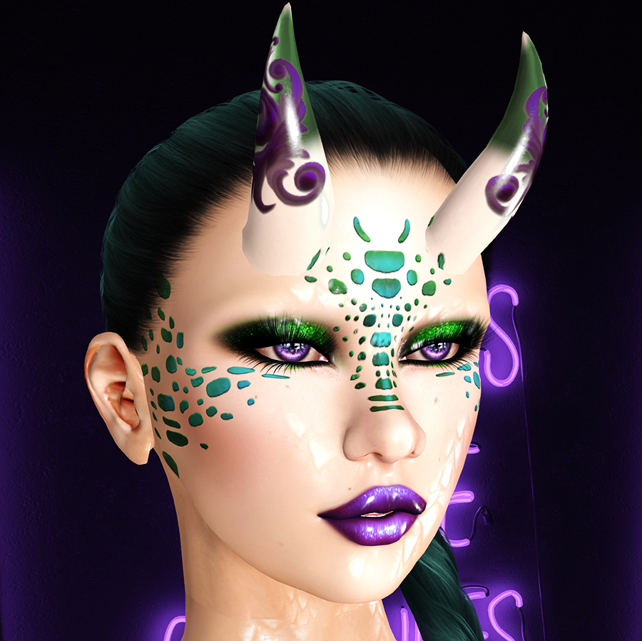 A Second Life humanoid draconic avatar with horns, green hair, scales, and makeup, and purple tattoos, eyes, and lipstick.