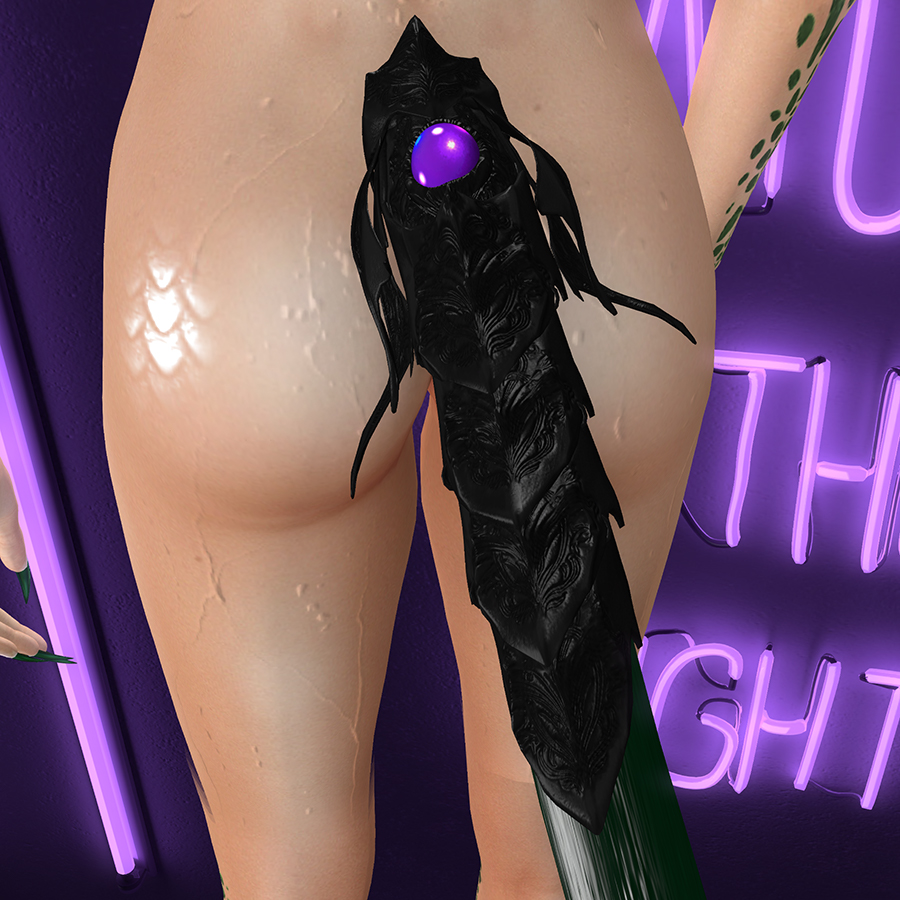 A Second Life humanoid draconic avatar's dragon tail.