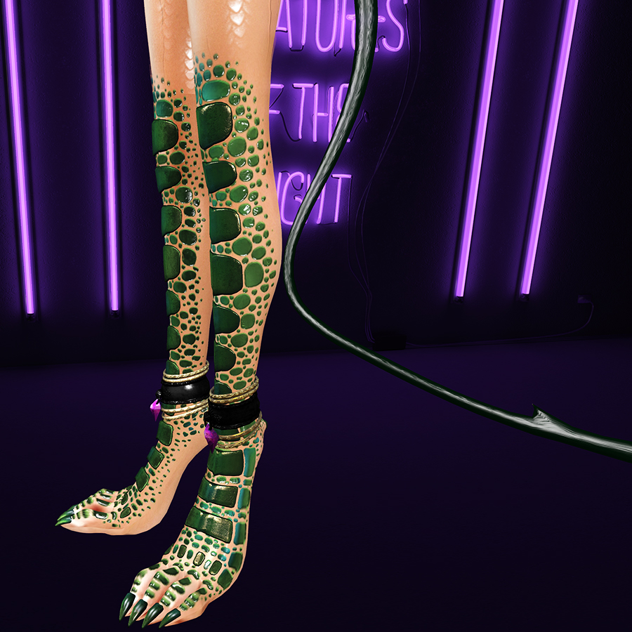 A Second Life humanoid draconic avatar's legs. There are green scales from the knees down.