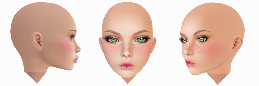 Second Life mesh head GA.EG Ave from the front and both sides
