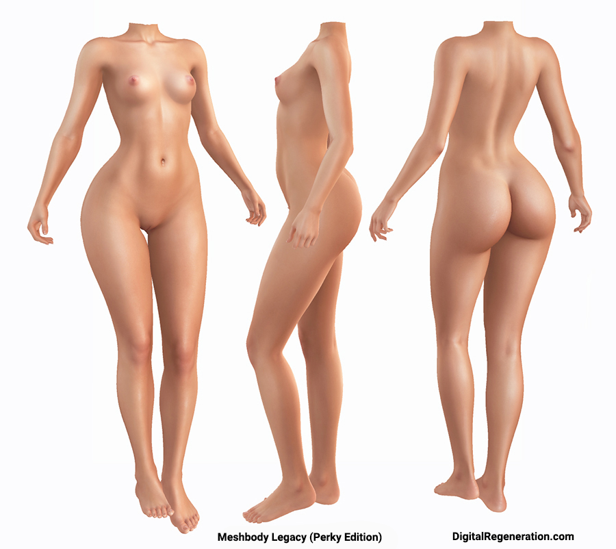 Meshbody legacy Perky Edition is shown from the front, side, and back
