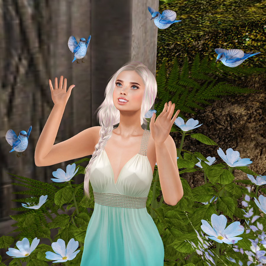 A second life avatar plays with flying birds.