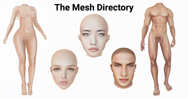 The Mesh Directory shows Maitreya Lara, Signature Gianni, LeLutka River, CATWA Daniel, and Genus Baby Face