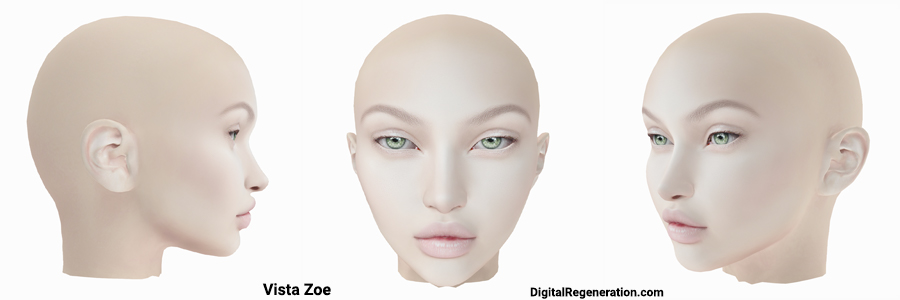 Vista Animations Zoe mesh head from the front and both sides