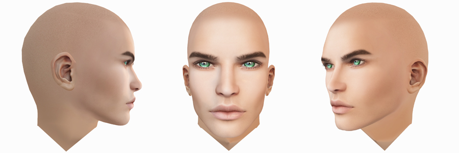 Second Life mesh head GA.EG Alan from the front and both sides