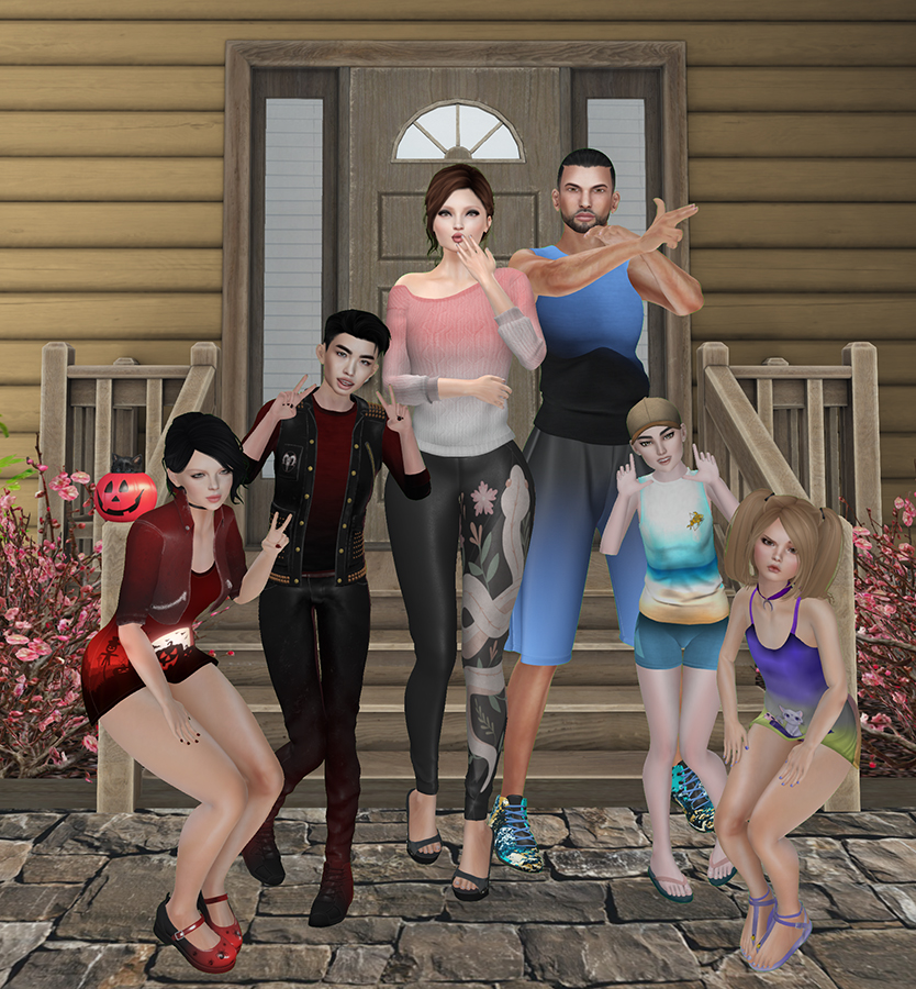 A Second Life family stands in front of their home