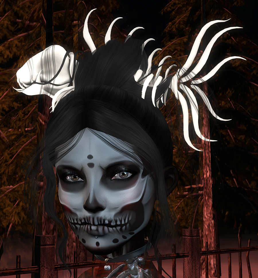 A Second Life ghoul looks at the camera
