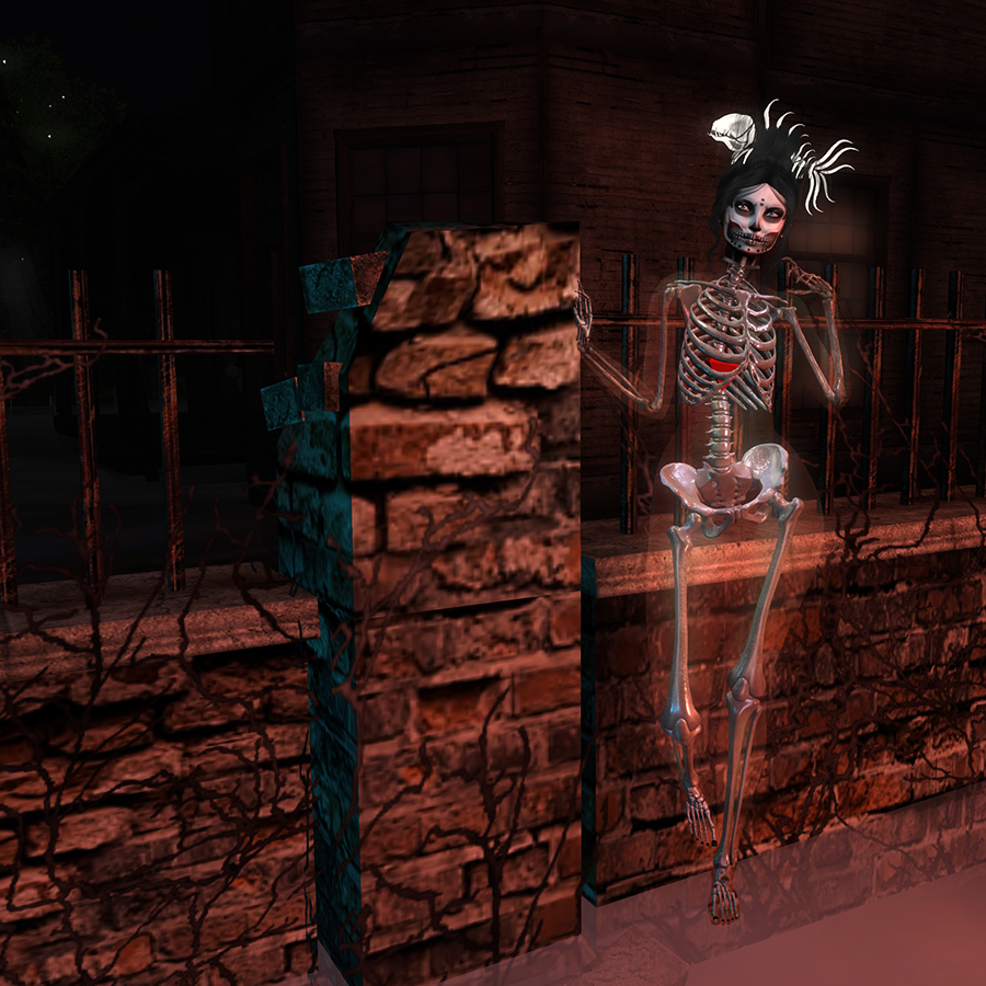 A Second Life ghoul dances in a cemetery