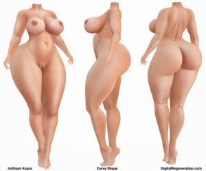 Inithium's Kupra Second Life mesh Body shown in the Curvy Shape