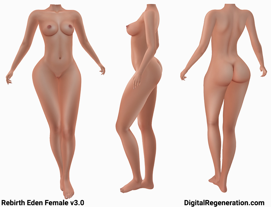 Rebirth Eden Female body in Second Life shown from the front, side, and back