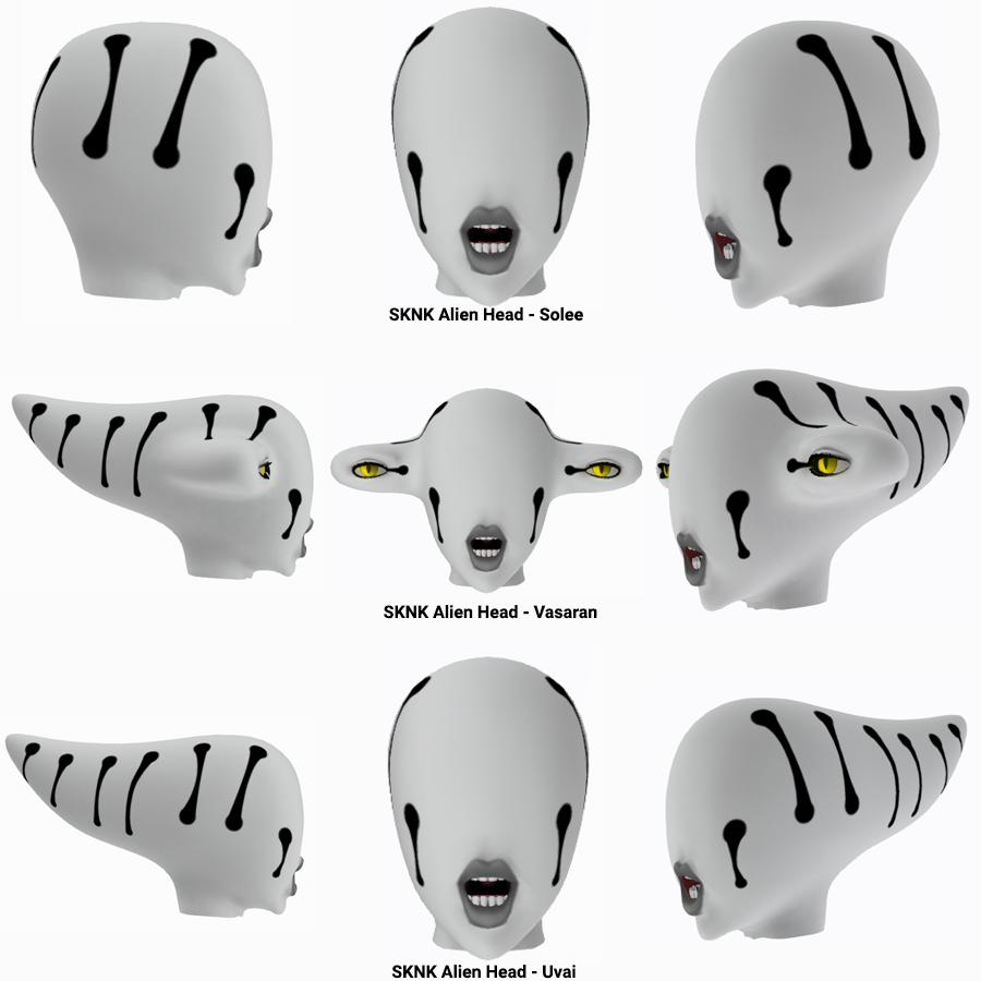 SKNK's Alien Heads: Solee, Uvai, and Vasaran