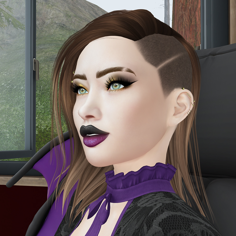 A Second Life avatar smiles and looks past the camera
