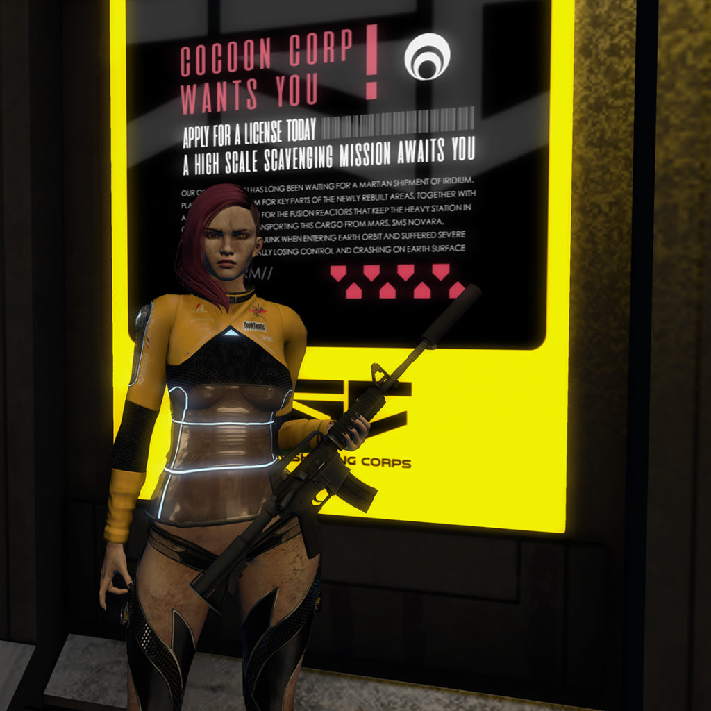 A Second Life avatar dressed as V from Cyberpunk 2077 stands in front of a Corpo Sign