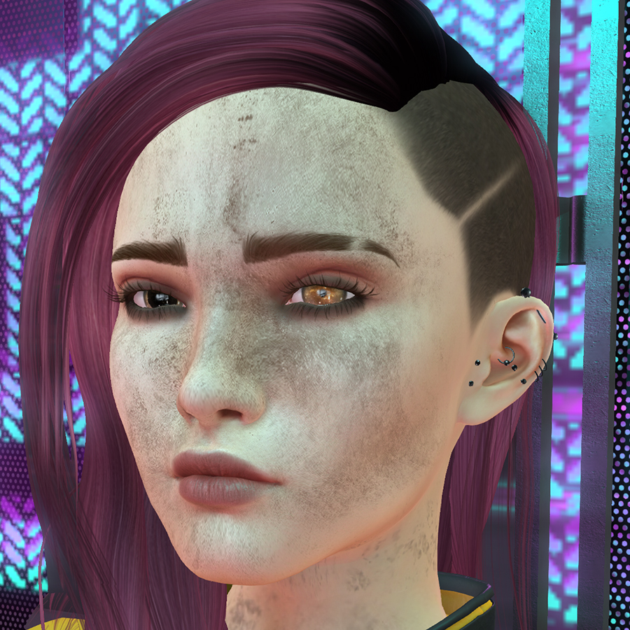 A Second Life avatar cosplaying as V from Cyberpunk 2077